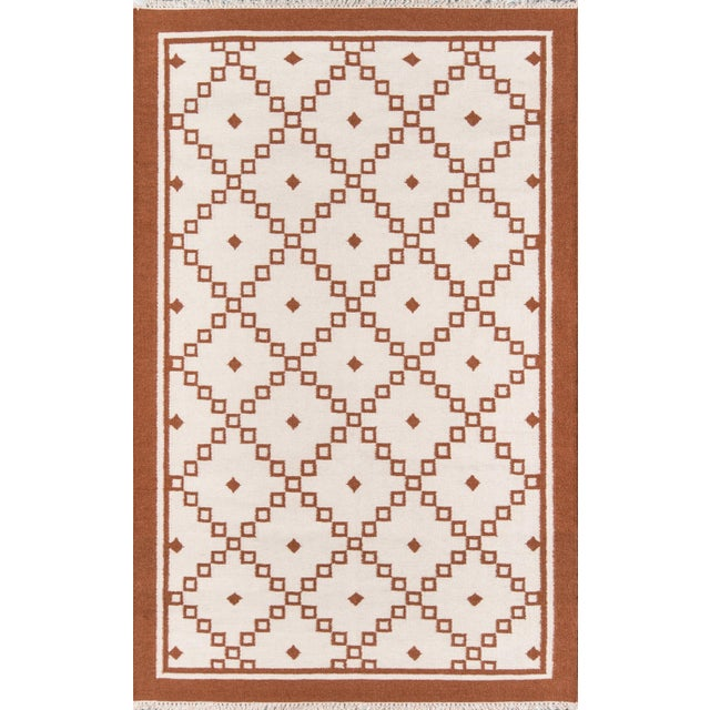 "2010s Erin Gates Thompson Langley Rust Hand Woven Wool Area Rug 7'6"" X 9'6"" For Sale - Image 5 of 5"