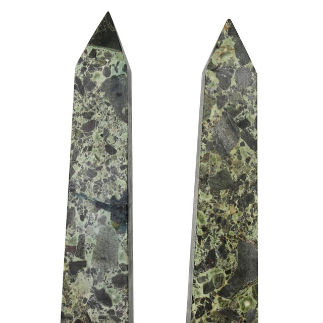 Grand Tour Large Italian Grand Tour Verde Antico and Siena Marble Obelisks - a Pair For Sale - Image 3 of 8