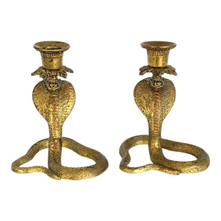 Vintage Middle Eastern Persian Style Cobra Gilt Candlestick Holders - a Pair