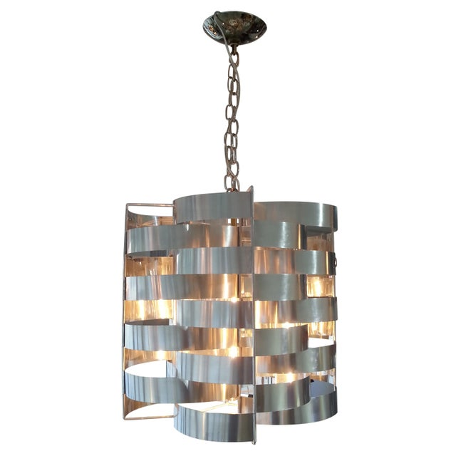 White 1970s Max Sauze Aluminium Chandelier For Sale - Image 8 of 8