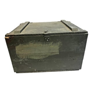 Vintage Industrial Green Wood Military Storage Trunk For Sale