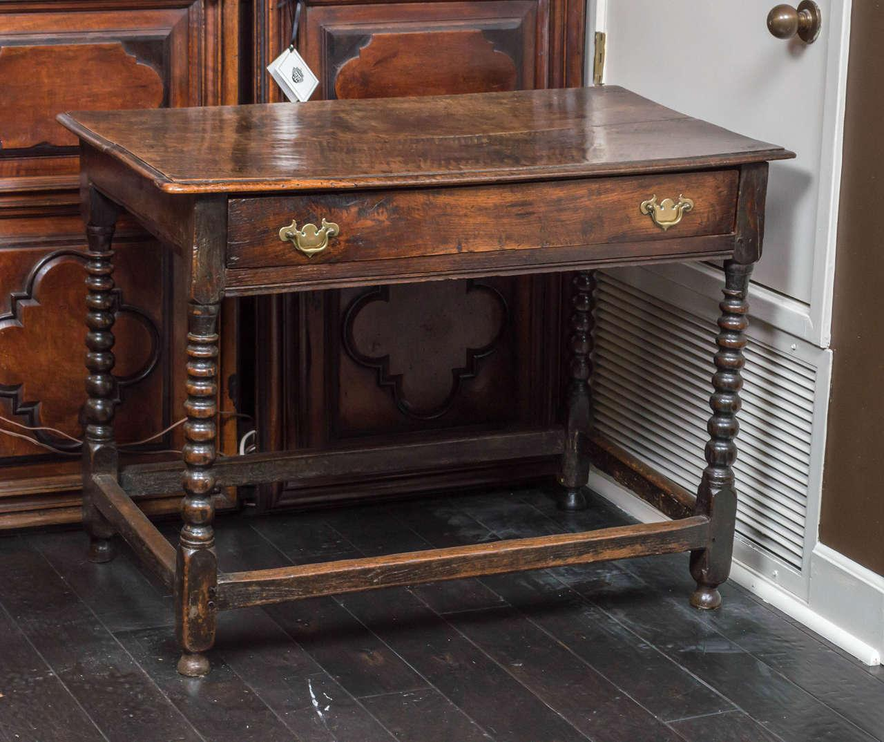 English Oak Side Table With Single Drawer And Bobbin Turned Legs, Circa  1780   Image