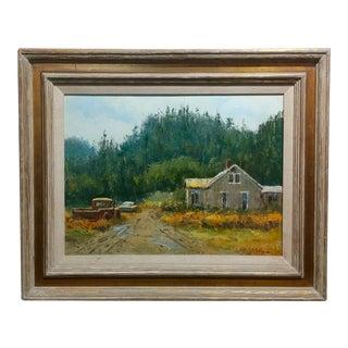 Ben Abril Farm Landscape & Cars Oil Painting, 1960s For Sale
