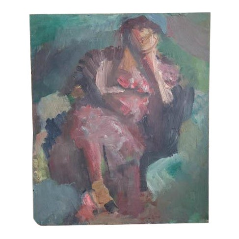 Mid Century 1957 Painting - Two Paintings in One - Reclining Nude, Man's Portrait For Sale