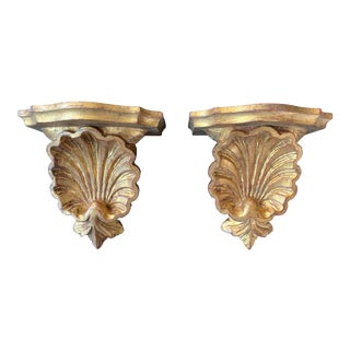 1960s Giltwood Italian Wall Brackets With Carved Shell Motif - a Pair For Sale