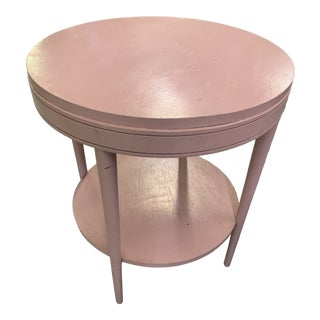 20th Century Shabby Chic Round Pink Wooden Side Table For Sale