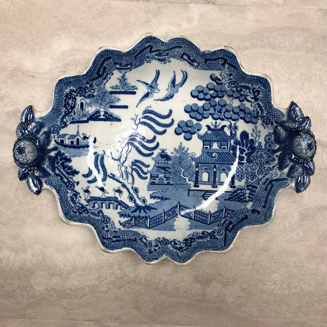 Blue 1800's Antique Rogers Blue Willow Serving Dish For Sale - Image 8 of 8