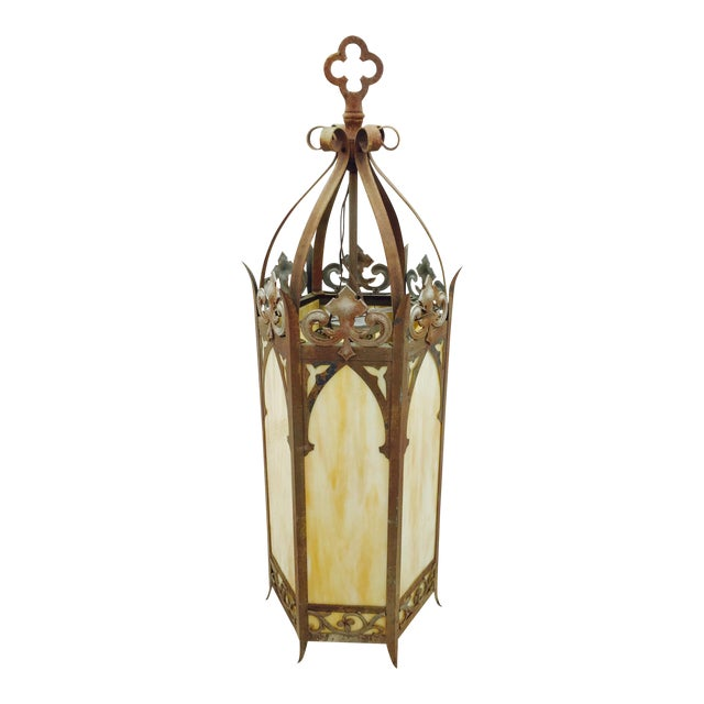 Parish Mini Pedestal Lantern: Antique Cathedral Church Glass Lantern