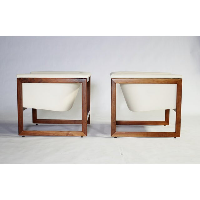 Mohair Milo Baughman Floating Cube Club Chairs For Sale - Image 7 of 10