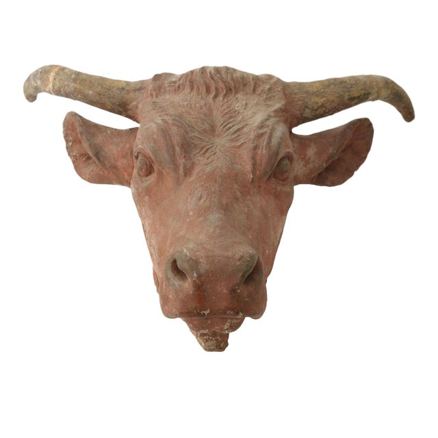 Painted Concrete Bull Head For Sale