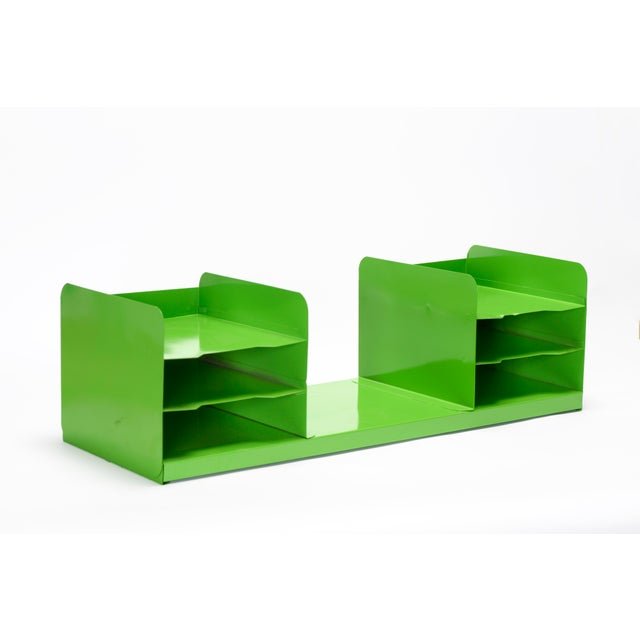 "Metal Extra Large Mid Century Tanker Office Organizer, Refinished in Gloss ""Lime Green"" For Sale - Image 7 of 7"