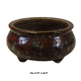 Chinese Handmade Ox Blood Red Marks Ceramic Incense Holder Urn Preview