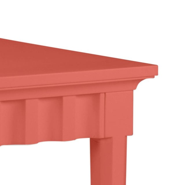 Features a carved scallop pattern design. The color is Benjamin Moore Crimson with a semi-gloss finish. Made of acacia wood.