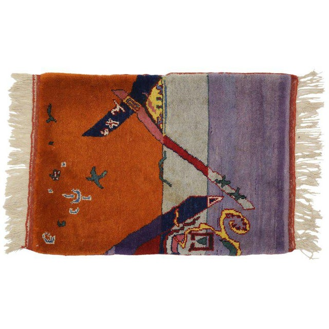 1980s Vintage Chinese Art Deco Rug -2′2″ × 2′11″ For Sale - Image 4 of 5