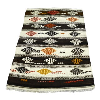 1960s Mid-Century Tribal Wool White Hand Knotted Stripe Design Kilim Rug For Sale