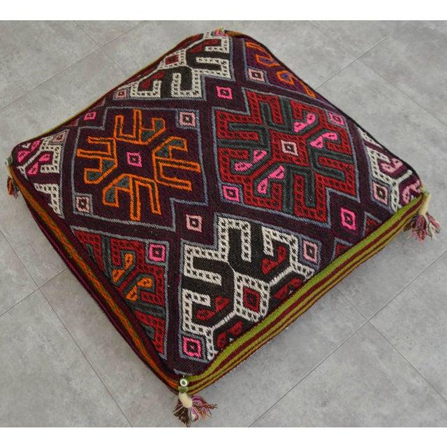 Turkish Hand Woven Kilim Floor Cushion Cover - Image 2 of 6