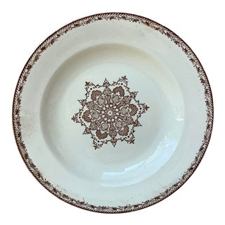 Late 19th Century French Faience Snowflakes Soup Plate For Sale