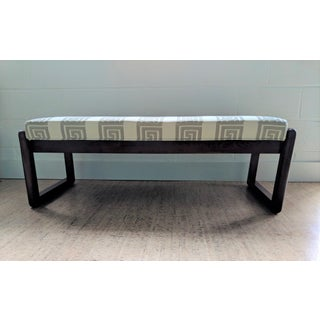 Gray & White Greek Key Upholstered Bench Preview