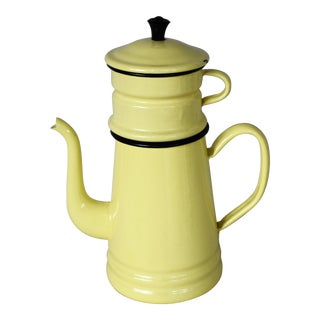 Vintage Enamelware French Drip Coffee Pot For Sale