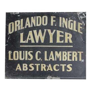 1900's Hand Painted Tin Trade Sign for Lawyer/Abstracts For Sale