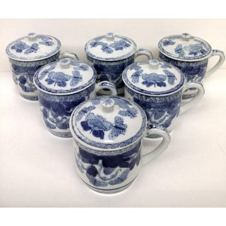 Chinese Porcelain Covered Tea Cups - Set of 6 Preview