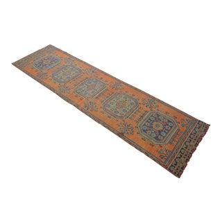 Distressed Oushak Rug Runner Jaffa Color Hallway Rug- 2'11″ X 11'2″ For Sale