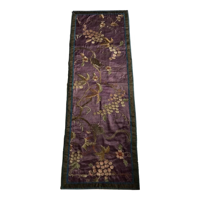 Chinese Embroidered Silk Textile-Runner For Sale