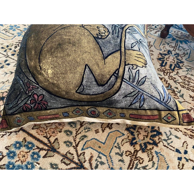Silk Boho Chic Lioness Pillow For Sale - Image 7 of 13