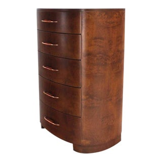 Art Deco 5-Drawer Rounded High Chest of Drawers For Sale