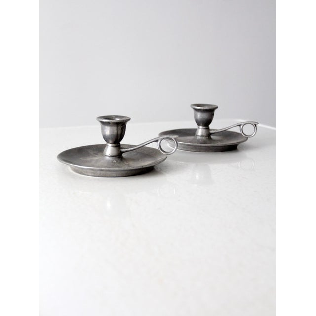 Vintage Carson Pewter Style Candlestick Holders - a Pair For Sale - Image 6 of 9