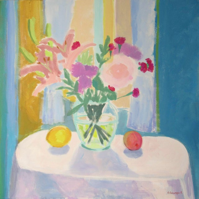 Flowers, Lemon and Peach by Anne Carrozza Remick For Sale In Providence - Image 6 of 7