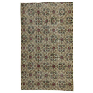 "Distressed Turkish Sivas Rug With Shabby Chic English Country Style - 5'5"" X 9'4"" For Sale"