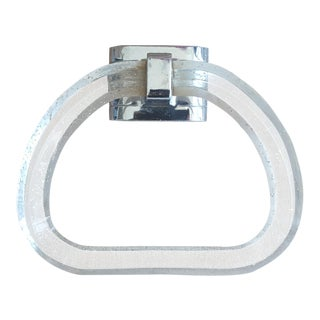 Vintage Glitter Lucite and Chrome Towel Ring Holder For Sale