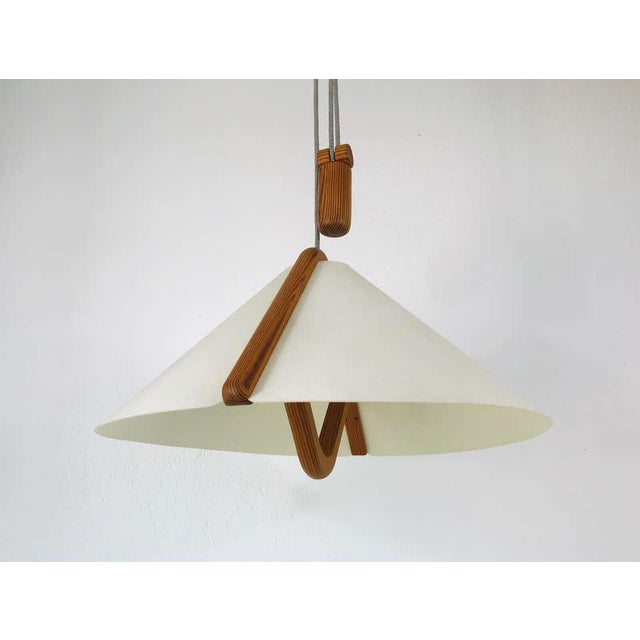 Wood Adjustable Midcentury Wooden Pendant Lamp with Counterweight by Domus, 1960s For Sale - Image 7 of 13