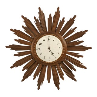 French Porcelain Face Sunburst Clock For Sale
