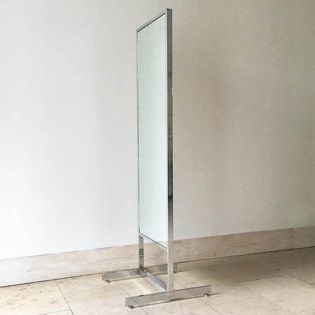 Mid-Century Modern Chrome Framed Floor Standing Mirror 1970s For Sale - Image 3 of 6