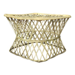 Mid Century Russell Woodard Beige Spun Fiberglass Side Table Ottoman