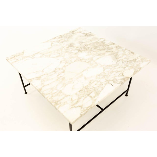 Paul McCobb Paul McCobb Style Mid Century Marble and Iron Square Coffee Table For Sale - Image 4 of 6
