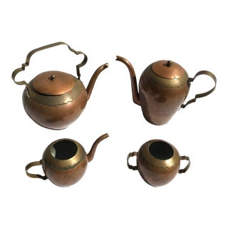 Antique Belgian Arts and Craft Style Hand Crafted Copper & Brass Tea/Coffee Set - Set of 4 For Sale
