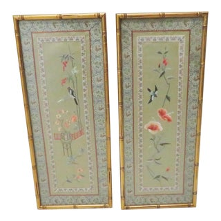 Chinese Silk Needlepoint Tapestries - a Pair