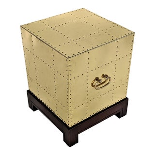 1990s Hollywood Regency Sarreid Brass Studded Cube Side Table For Sale