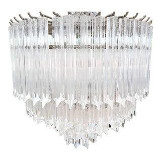 3 Tiered Massive Mid-Century Modern Hollywood Regency Venini Style Lucite Bar Chrome 11 Light Chandelier For Sale