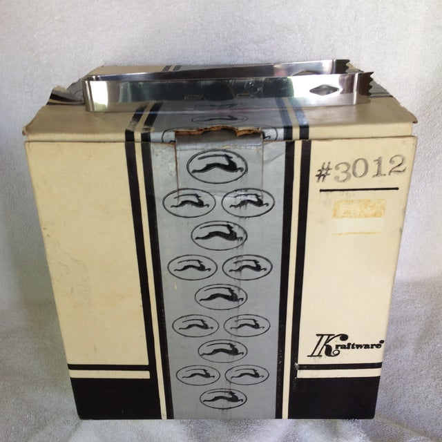 Vintage Black and Chrome Kraftware Ice Bucket & Tongs in Original Box For Sale - Image 10 of 13
