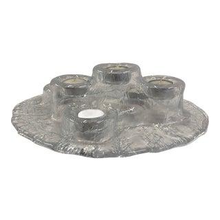 1980s Finn Design Volcano Scandinavian Modern Brutalist Glass 6 Light Candleholder For Sale