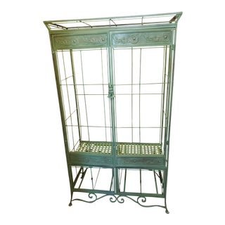 1930's Shabby Chic Metal Wardrobe Cabinet For Sale