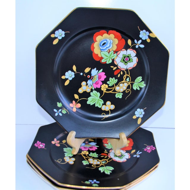 1920s Antique Art Deco Black and Floral Plates - Set of 4 For Sale - Image 12 of 12