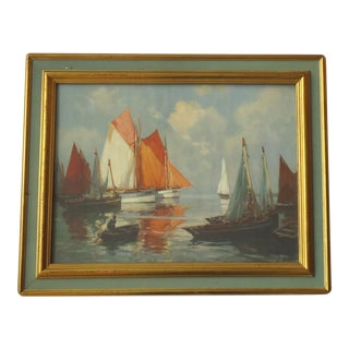 Early 20th Century Antique Ships at Sea Framed Print For Sale