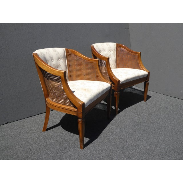 French Country Vintage Wood & Cane White Club Chairs For Sale - Image 3 of 9