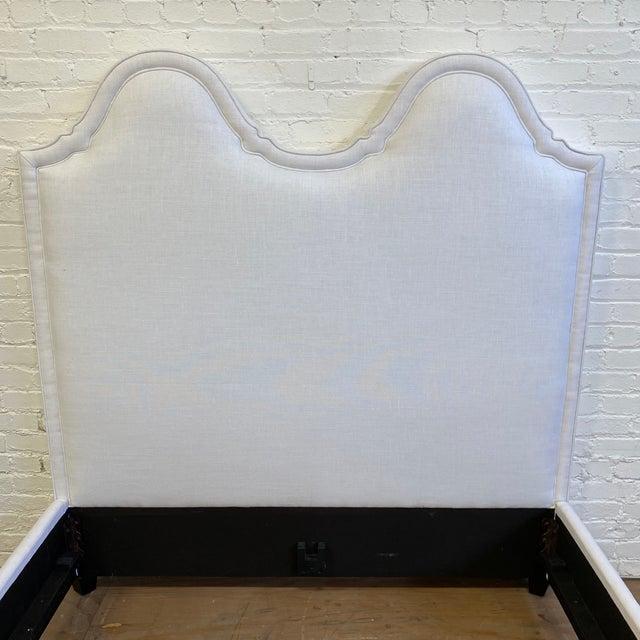 New Queen Size Custom Design Upholstered Linen Bed Frame For Sale - Image 4 of 13