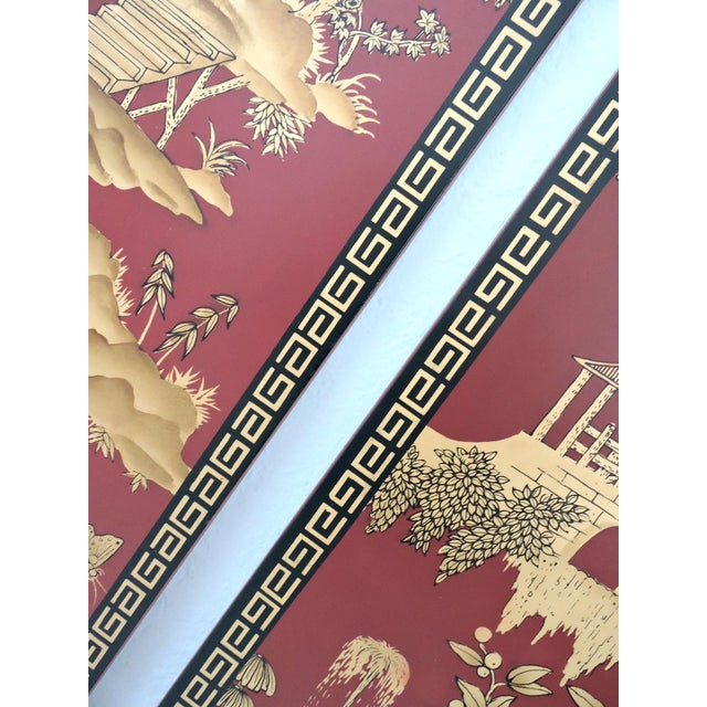 Decorative Oriental Red & Gold Wall Panels - Pair For Sale - Image 4 of 5
